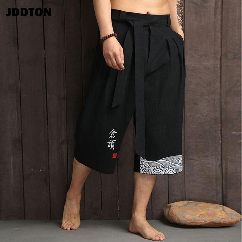 JDDTON Men's Japanese Kimono Traditional Style Summer Casual Wide-Length Pants Print Character Male Yukata Cropped Trouser JE405