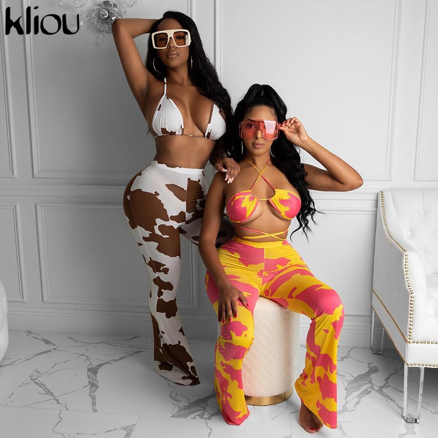 Kliou Gedruckt Bodycon Zwei Stück Sets Frauen 2020 Herbst Ärmellose Streetwear Fashion Dünne Casual Outfits Und Hosen Co-ord set
