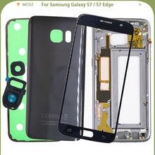 삼성 Galaxy S7 G930F / S7 Edge G935F 용 새 배터리 커버 뒤 표지 + 중간 프레임 + 전면 유리 외부 패널 전체 하우징