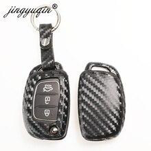 Jingyuqin Koolstofvezel Auto Silicone Key Case Voor Hyundai Creta I10 I20 Tucson Elantra Santa Fe 3 Knop Afstandsbediening Flip fob Cover