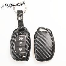 Jingyuqin karbon Fiber araba silikon anahtar kılıfı Hyundai Creta için I10 I20 Tucson Elantra Santa Fe 3 düğme uzaktan Fob kapak