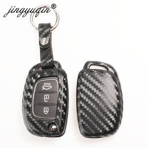 Image 1 - jingyuqin Carbon Fiber Car Silicone Key Case For Hyundai Creta I10 I20 Tucson Elantra Santa Fe 3 Button Remote Flip Fob Cover
