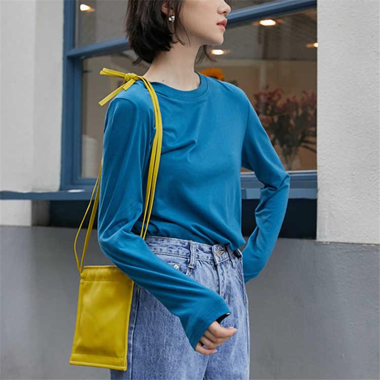Colorfaith Nieuwe 2019 Vrouwen Herfst Winter T-Shirts Solid Dieptepunt Lange Mouwen Casual Koreaanse Minimalistische Stijl Tops Tees T2393