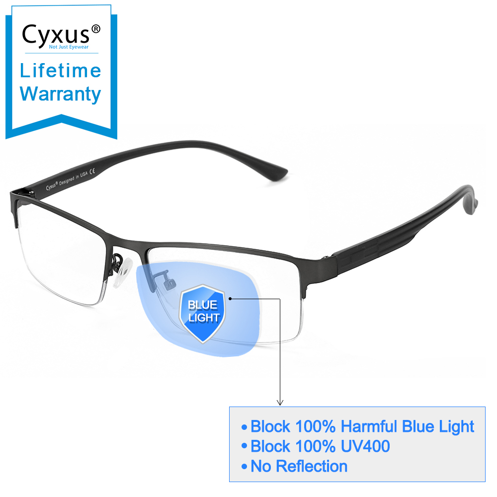 Cyxus Metal Blue Light Blocking Computer Gaming Glasses For Anti Eyestrain Semi-rimless Reading Eyewear For Men/Women 8001