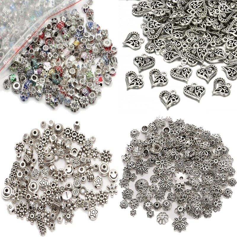 Wholesale Metal Beads Lots Tibet Silver Spacer Beads for Jewelry Making European Bracelet DIY Craft Findings Christmas Charms(China)