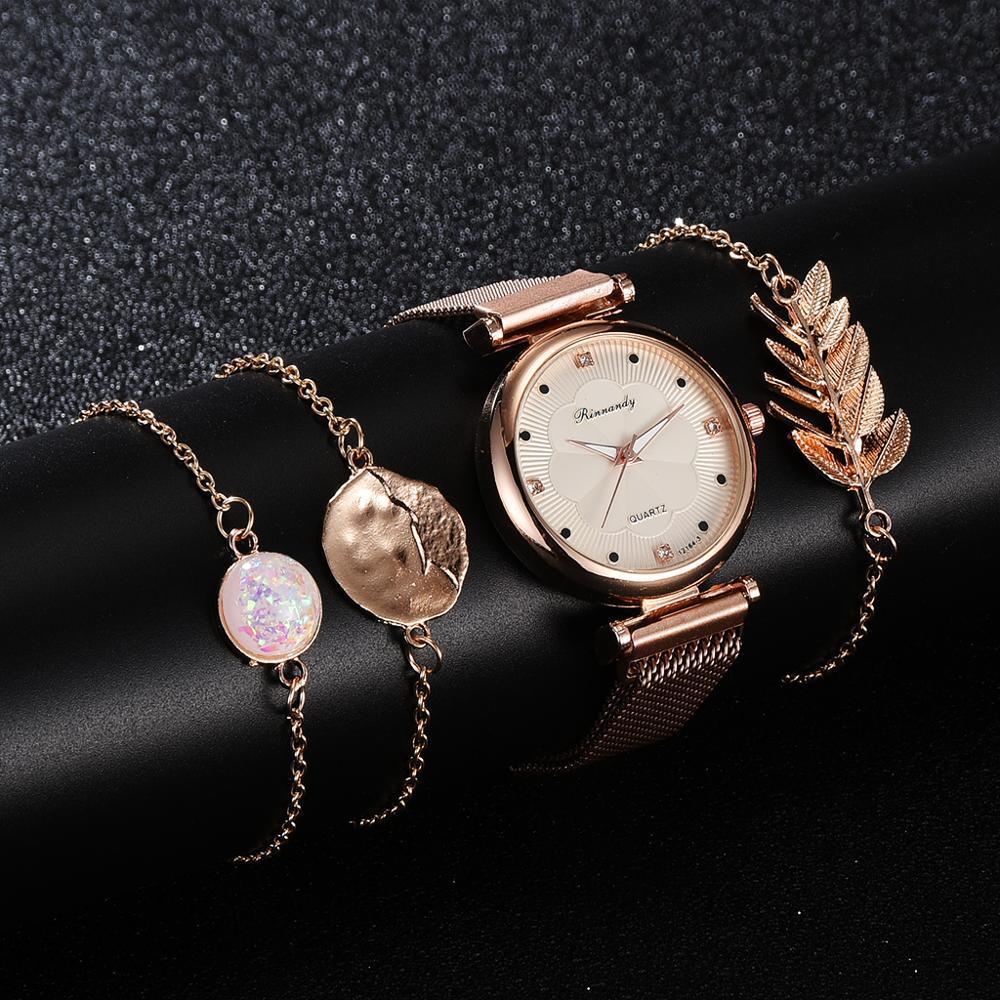 Luxus Set Uhr Frauen Magnet Schnalle Blume Frauen Uhr Armband Rose Gold Strass Kleid Damen Uhr Geschenk Set montre femme