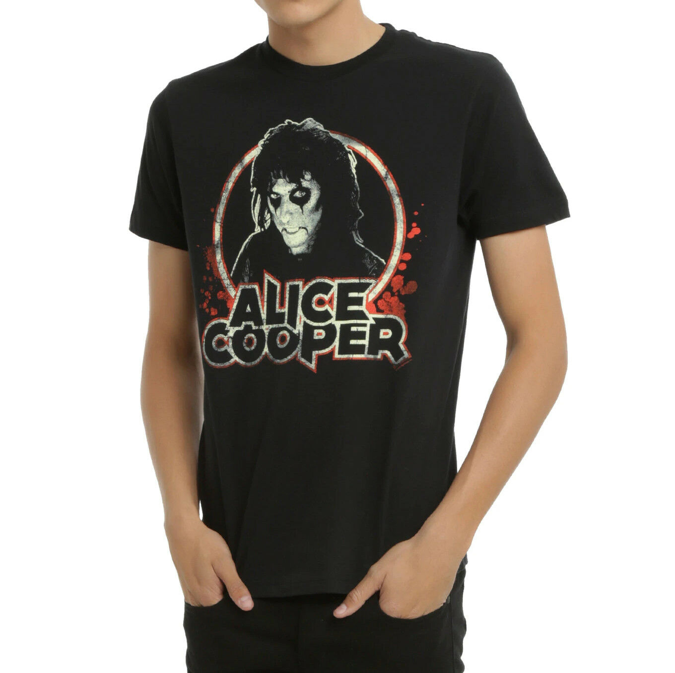 Alice Cooper Portrait Mens Large Black TShirt Tee 80s Heavy Metal Hard Rock Band image