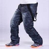 30 Men Snow pants cowboy style winter outdoor snowboarding clothing skiing trousers windproof waterproof warm ski pant Belt