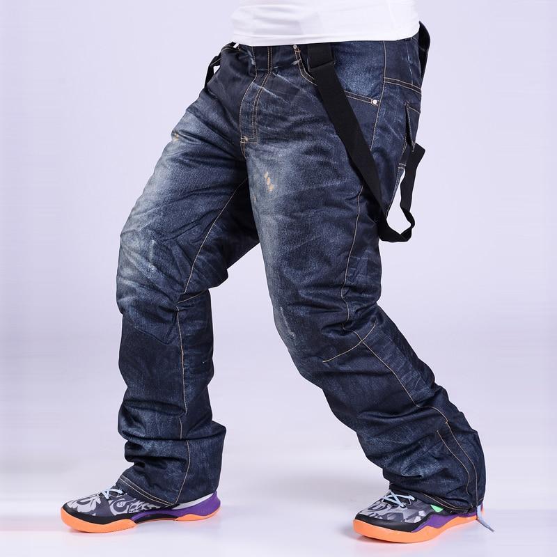 -30 Men Snow Pants Cowboy Style Winter Outdoor Snowboarding Clothing Skiing Trousers Windproof Waterproof Warm Ski Pant Belt