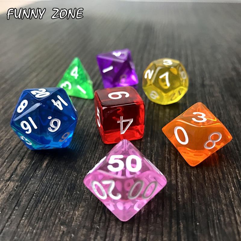 1 Набор из 7 двусторонних игральных костей D4 D6 D8 D10 D12 D20 для игры в ролевые игры Dnd Data Crystal Polyhedral, цветные кости