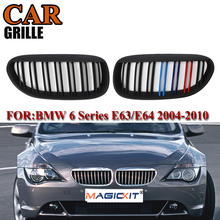 MagicKit A Pair Car Front Racing Grilles For BMW 6 Series E63 E64 For Coupe 2004-2010 Front Matte Black M-color Double Line car styling glossy black m color front grille grilles for bmw 6 series e63 e64 m6 05 10 convertible coupe auto car styling