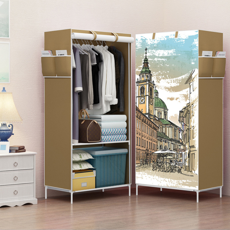 Simple Wardrobe font b Closet b font for Clothes Portable Fabric Folding Cloth Storage Furniture Garment