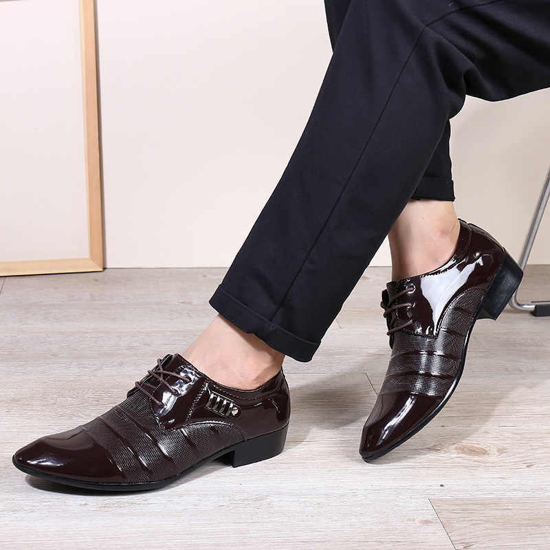 Man Business Dress Classic Style Flats Brown Black Lace Up Pointed Toe Shoe For Men Oxford Shoes BBNX085544