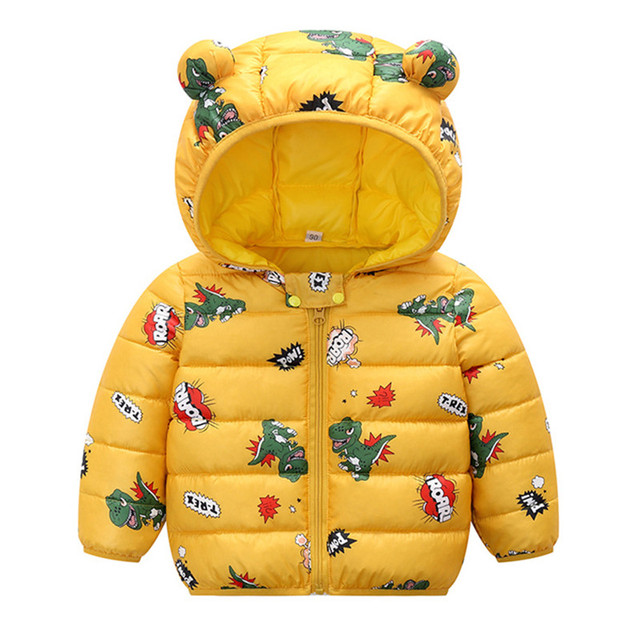 Hooded Baby Coat with Dinos Print and Bear Ears 5