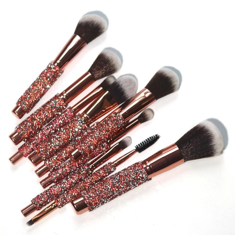 10Pcs/Set Diamond Makeup Brushes Kit Women Make Up Tool Blending Contour Foundation Eyeshadow Brush With Cosmetic Bag