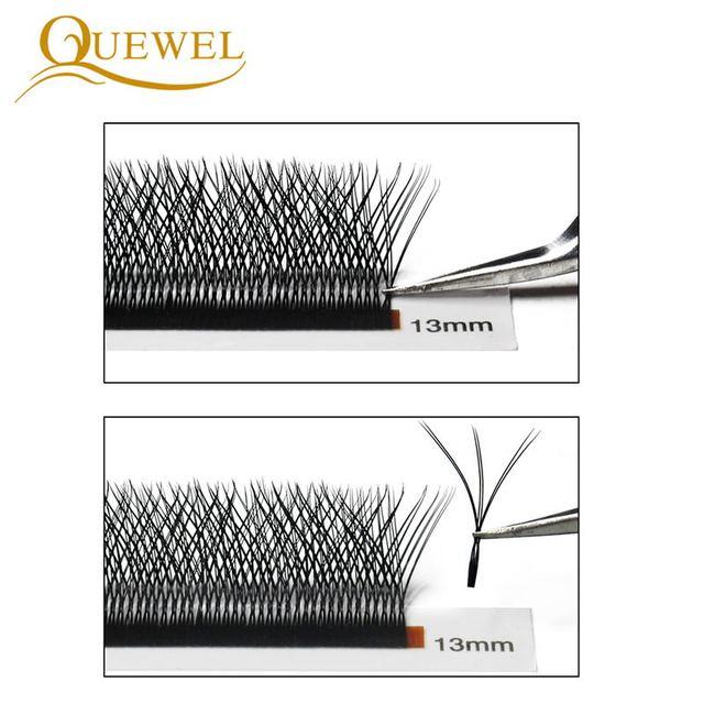 Quewel W Shape Individual Volume Eyelashes W Style Double Tip Eyelash Extensions Fans C/D Curl New False Eye Lash Makeup Tool 3