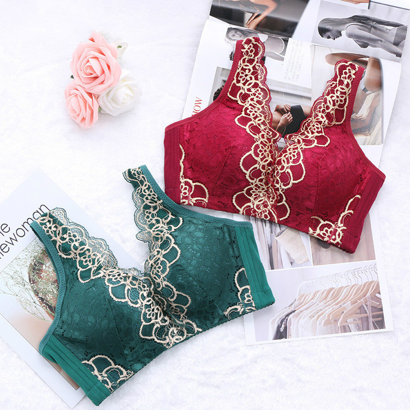 Women 39 s large size bra vest style rimless lace underwear gathered adjustable bra luxury black bra