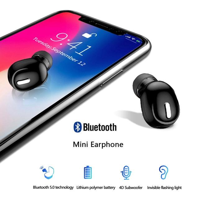 미니 무선 이어폰 블루투스 5.0 귀에 이어폰 핸즈프리 헤드셋 이어폰 마이크와 아이폰 Xiaomi 스마트 폰 PC