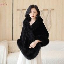 Элегантные черные вечерние куртки, свадебные накидки из искусственного меха, новинка, зимнее женское болеро, зимние шали