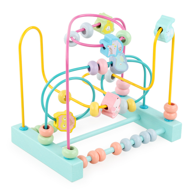 Wooden Calculation Bead-stringing Toy Children'S Educational Early Childhood Toy Macarons Rosary Rack Three-Line Mathematics Bea