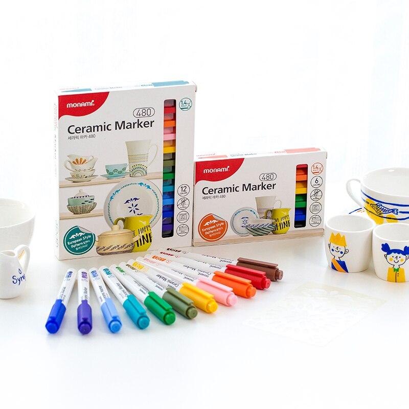 Caneta de marcador de cerâmica, 1.4mm, monami 480 para feliz tempo, faça você mesmo, artesanato, desenho, pintura, graffiti, escola, estudantes, crianças, presente f6470