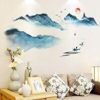 [SHIJUEHEZI] китайская живопись, настенные наклейки, дизайн интерьера, горы, настенные наклейки для гостиной, спальни, украшения