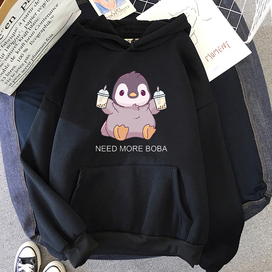 Cute Penguin Boba Tea Hooded Sweatshirt Harajuku Hoodies Lovely Kawaii Casual Hoody O-Neck Women's Hoodie 8