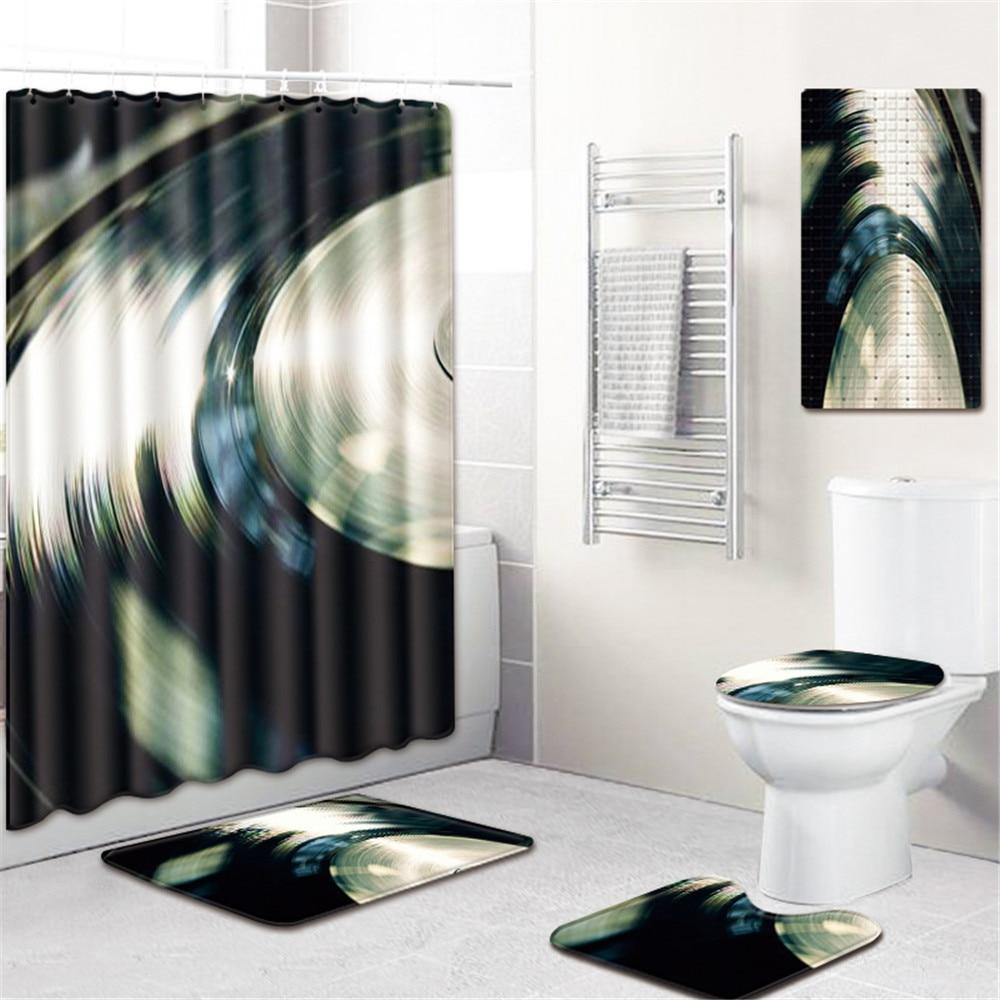 3D животных Шторки для душа с принтом водонепроницаемый ПВХ нескользящий коврик для ванной шторы для ванной комнаты экран с крючками Крышка для сиденья унитаза ковер - 4
