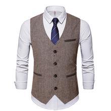 Vintage Men V Neck Sleeveless Jacket Buttons Suit Vest Slim Business Wedding Groomsmen Cotton Waistcoat Fashion Vest Solid Color