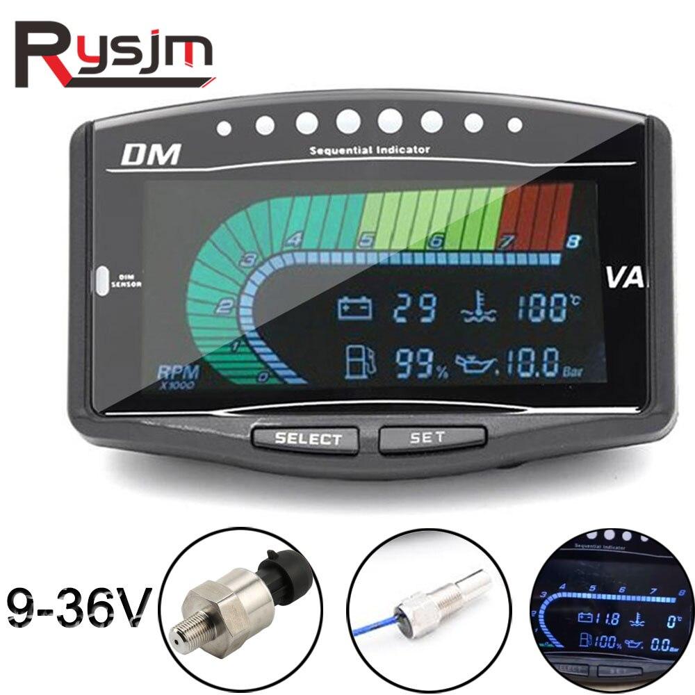 5 en 1 12 v/24 v camion voiture LCD tachymètre numérique capteur de pression d'huile Volt voltmètre température de l'eau jauge de carburant rpm mètre tach