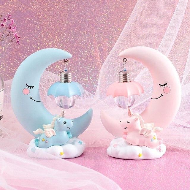 שרף ירח Unicorn LED לילה אור קריקטורה תינוק משתלת מנורת נשימה ילדי צעצוע מתנה לחג המולד ילדים חדר מלאכת שולחן אור