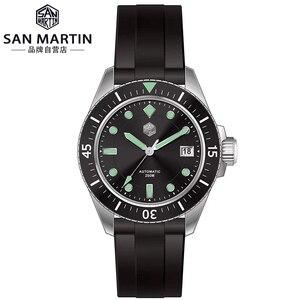 Image 1 - サンマーティン男性機械式腕時計サファイアガラス SEIKONH35 運動ステンレス鋼ダイビング腕時計