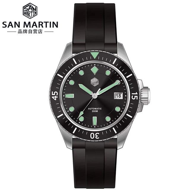 サンマーティン男性機械式腕時計サファイアガラス SEIKONH35 運動ステンレス鋼ダイビング腕時計
