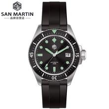 San Martin ผู้ชายอัตโนมัตินาฬิกา Sapphire แก้ว SEIKONH35 สแตนเลสนาฬิกาข้อมือดำน้ำ
