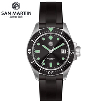 San martin relógios de pulso  relógios de homem  mecânicos  automáticos  de vidro de safira  seikonh35  aço inoxidável  mergulho