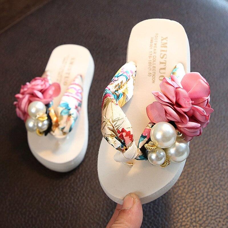 Summer New Non-Slip Children\'S Flip-Flops Girls Fashion Beach Shoes Pinch Sandals Female Flowers Slippers Women Wear Size 25-42