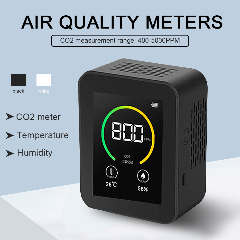 Indoor Air Quality Monitor Lcd Digital co2 Air Quality Meters Real Time TFT Intelligent Air Quality Sensor Tester co2 Detector