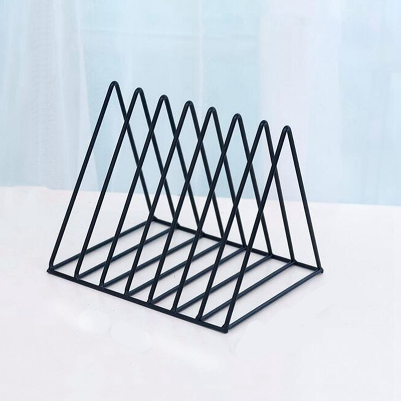 Iskandinav üçgen basit ferforje masaüstü depolama raf raf dosya dergisi saklama kutusu ofis raf takı title=