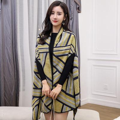 Новинка, роскошный брендовый женский зимний шарф, теплая шаль, женское Клетчатое одеяло, вязанное кашемировое пончо, накидки для женщин, echarpe - Цвет: style 10