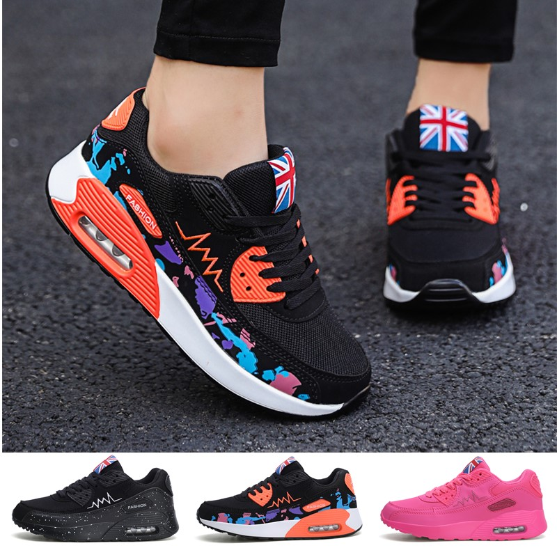 Women Fashion Breathable Leather Cushion Sport Shoes Jogging Shoes Fitness Shoes