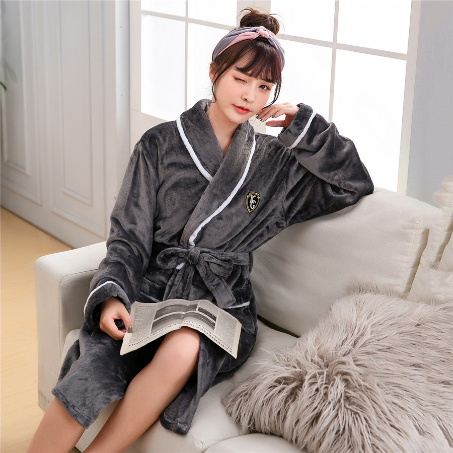 Comfortable Flannel Women Winter Homewear Kimono Robe Gown Keep Warm Full Belt Nightwear Bath Gown Casual Soft Nightdress Plus