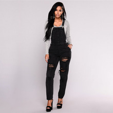 Women Holes Denim Jumpsuits 2019 New Arrival Cowboy Pants High Quality Casual Jeans Overalls Braces Trousers summer