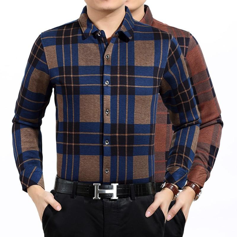 Brand Men Shirt Business Casual Striped Shirt Long Sleeve Male Shirts Warm Winter Big Size Thick Fleece Shirt Mens Blue Orange