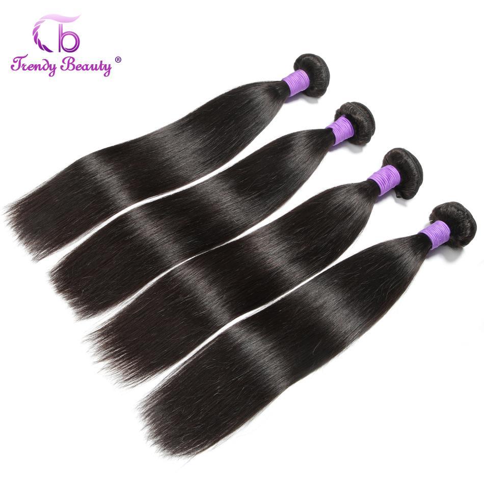 linha reta pacotes de cabelo com fechamento