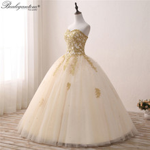 Ball-Gown Quinceanera-Dresses Tulle Gold 15-Anos Sweet 16 Lace BM352 Beads Vestidos Via