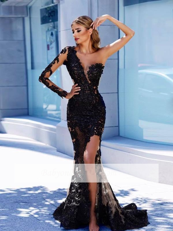 Black   Prom     Dress   2019 Mermaid One-shoulder Long Sleeves Appliques Lace Slit Sexy Long   Prom   Gown Evening   Dresses   Robe De Soiree