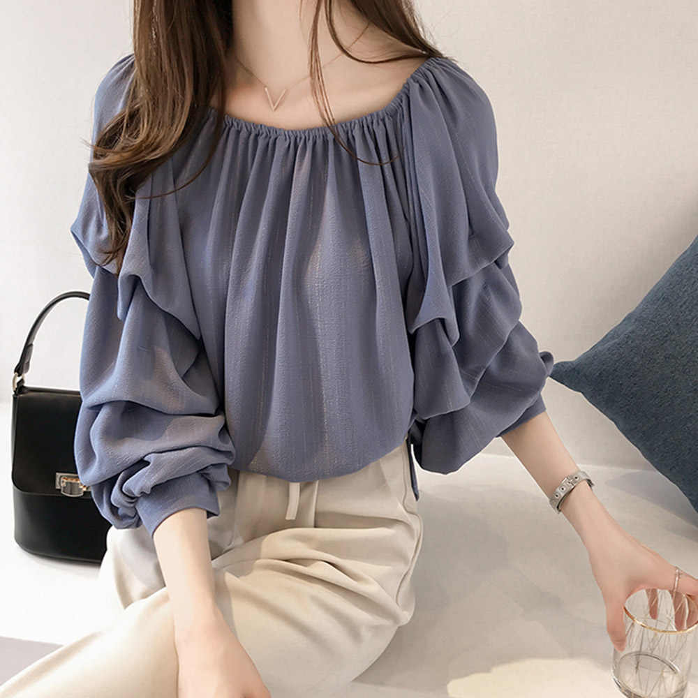 Autumn Chiffon Blouse Women Puff Sleeve Sweet Korean Tops Young Loose  Pleated Office Shirt Spring Blue Elegant Female Blouses