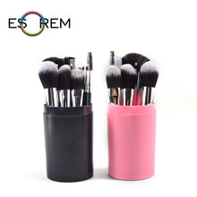 ESOREM 12pcs Hote Sale Makeup Brushes Set With Cylinder Portable Cosmetic Brush Loose Powder Dense Fan Pincel Maquiagem 4311