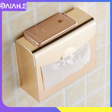 Toilet Paper Holder with Shelf Gold Aluminum Waterproof Towel Dispenser Wall Mounted Roll Tissue Storage Box