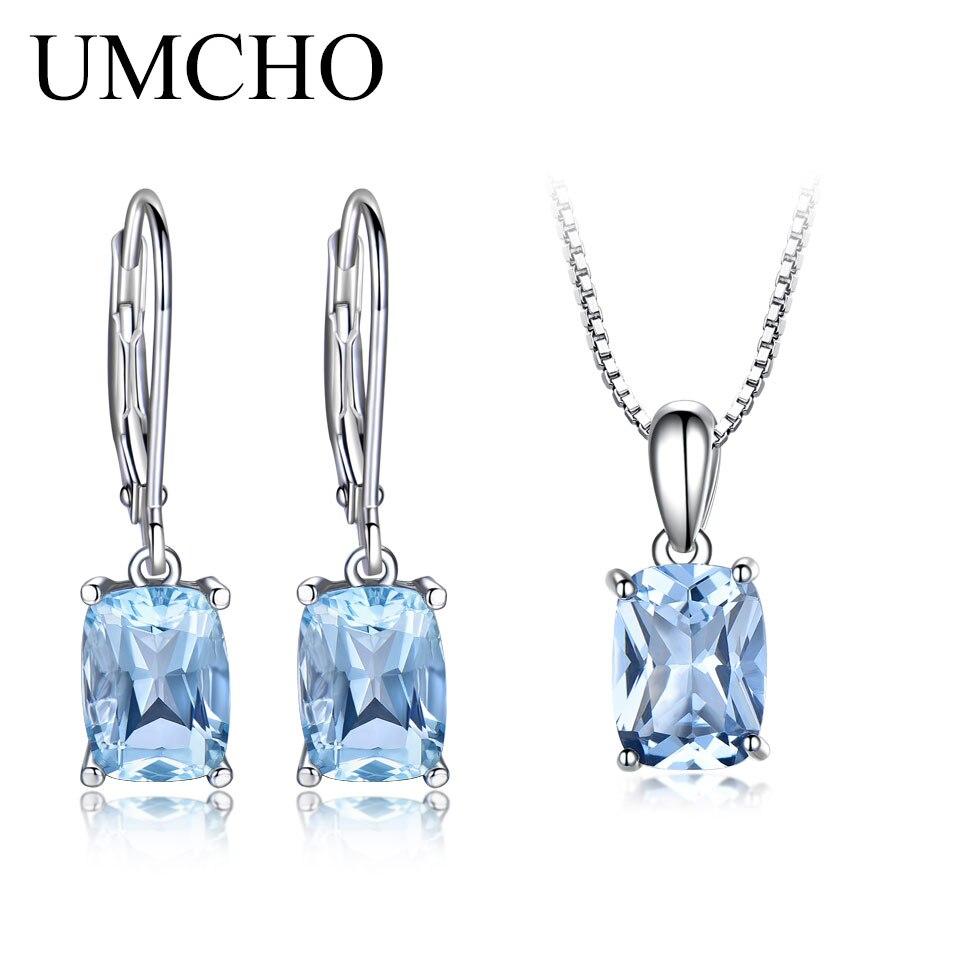 UMCHO Genuine 925 Sterling Silver Sky Blue Topaz Jewelry Sets Pendant Necklace Drop Earrings For Women Wedding Fine Jewelry Gift